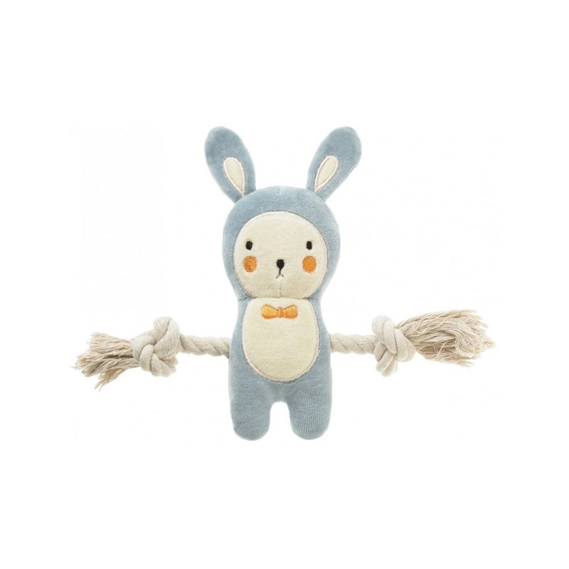 Little Jack Bunny Blue with Rope, 9""