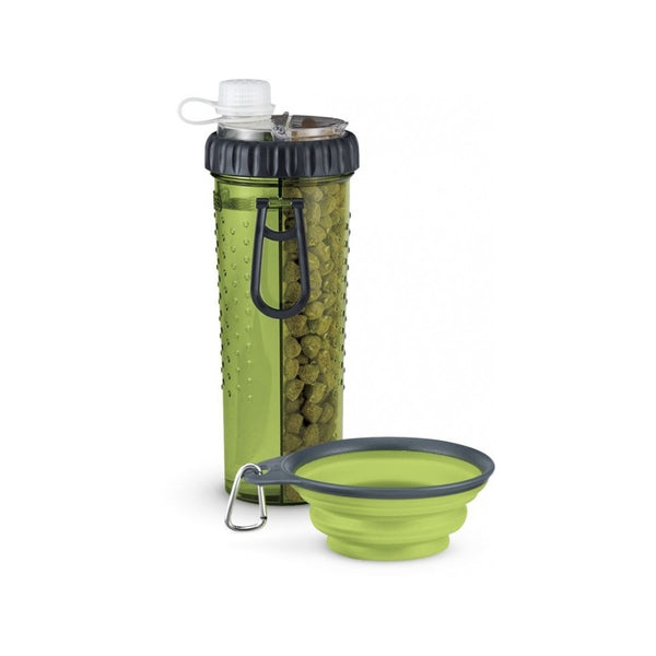 Snack-Duo with Travel Cup, Color Green, 24oz/709ml