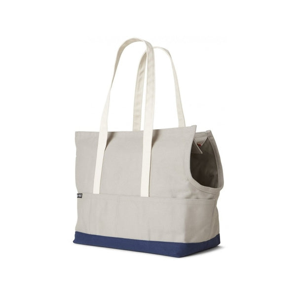 Canvas Pet Tote, Color Grey/Navy, Medium
