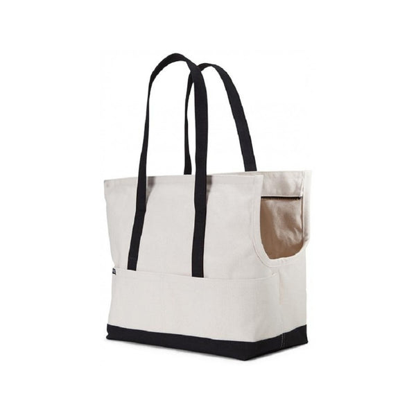Canvas Pet Tote, Color Natural/Black, Medium
