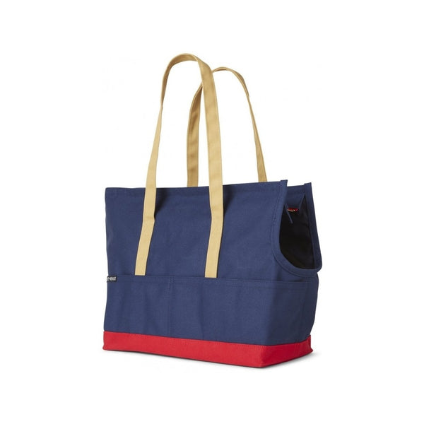 Canvas Pet Tote ; Navy/Red, Color: Medium