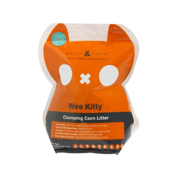 Wee Kitty Clumping Corn Litter, 2kg