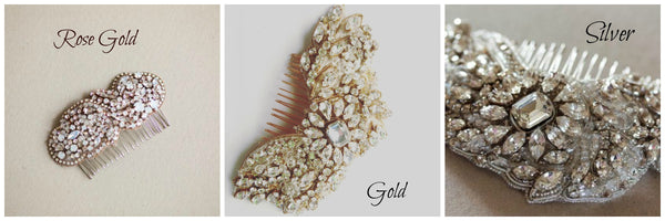 Custom bridal headpiece in rosegold or gold