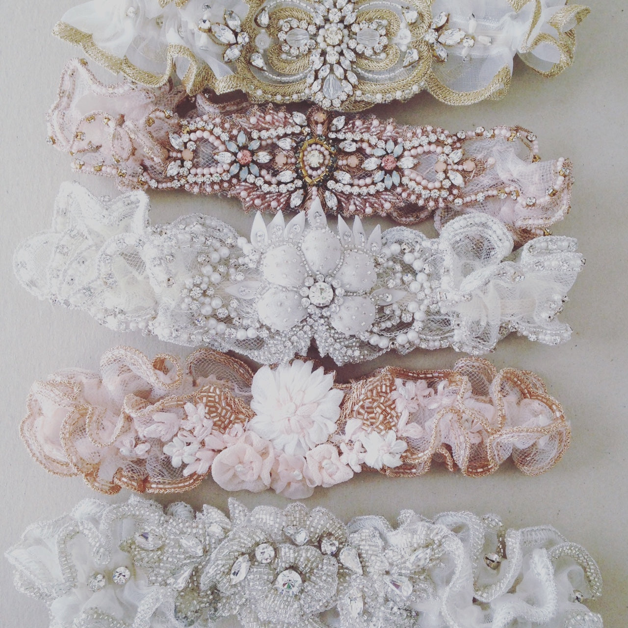 Wedding Garters Something Blue Rose Gold Embellished