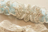 Something blue wedding garter with ivory pearls