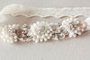Bridal garter set - Floral ivory lace (one qty ready to ship)
