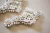 Bridal earrings in silver and ivory color - Style E06