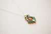 Womens charm necklace in green and pink