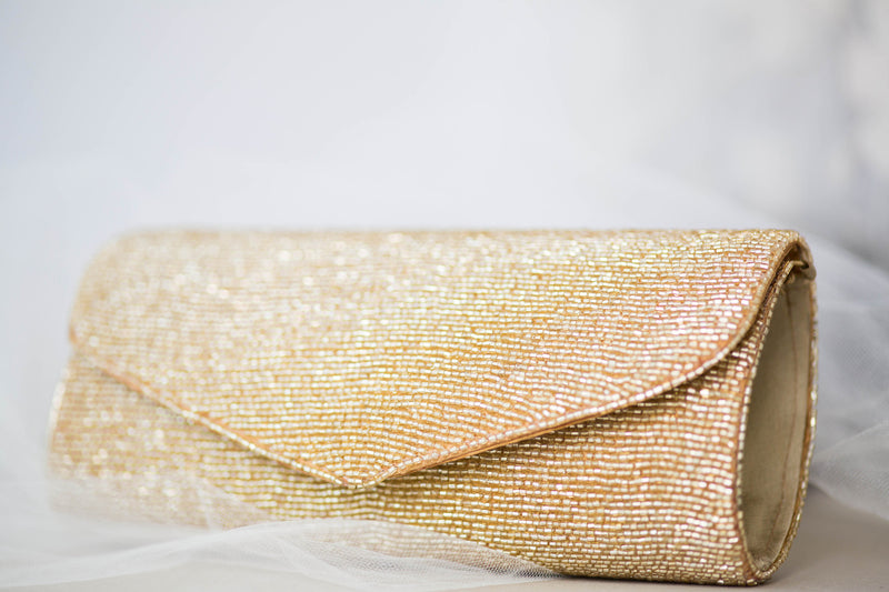 Gold Colored Beaded Clutch - Style CT12