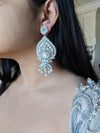 large bridal earrings with swarovski and pearls