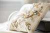 Gold and ivory beaded ring bearer pillow
