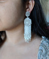 large bridal earrings with ivory pearl tassel