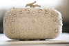 embriodered bridal clutch in ivory