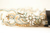 crystal wedding garter set in gold and blue