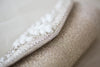 Silver beaded bridal clutch