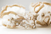 wedding garters in gold and opal colors
