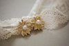 Gold floral lace wedding garter - Style R15 (Ready to ship)
