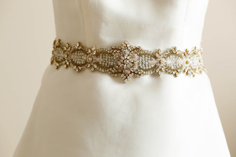 Gold and pink bridal dress belt - Style S49