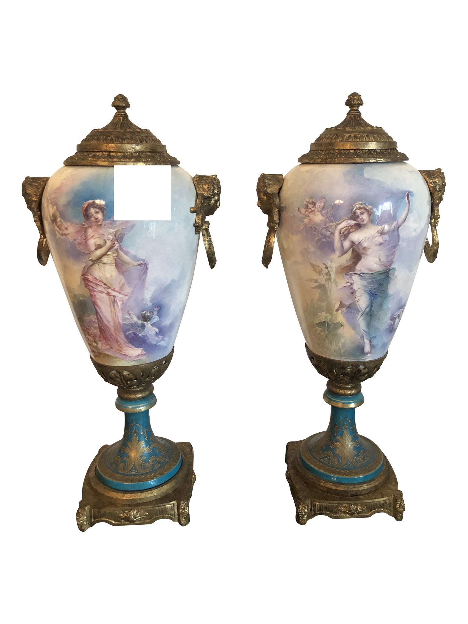 Pair of French Urns, 20th Century, Signed by T Ballanger