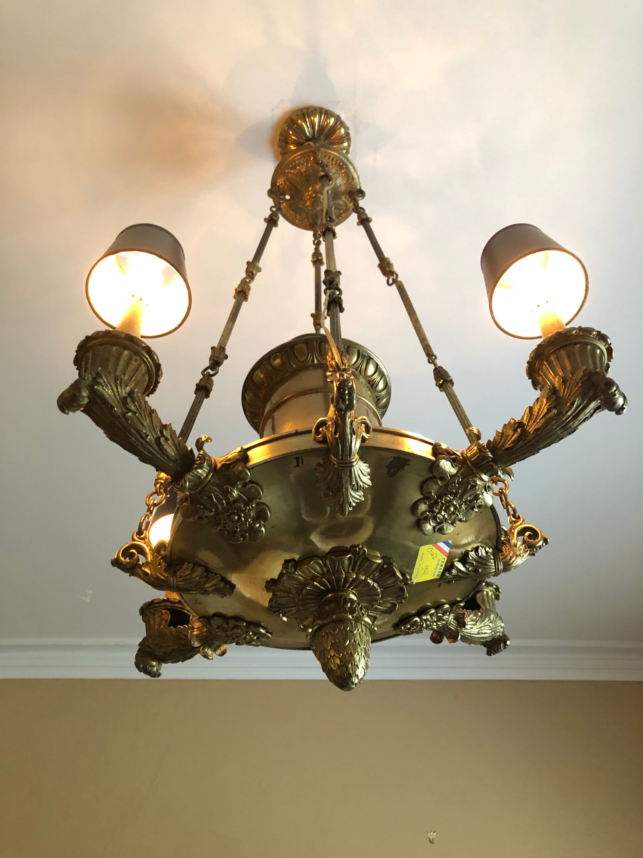 Late 19th Century Empire Whale Oil Chandelier