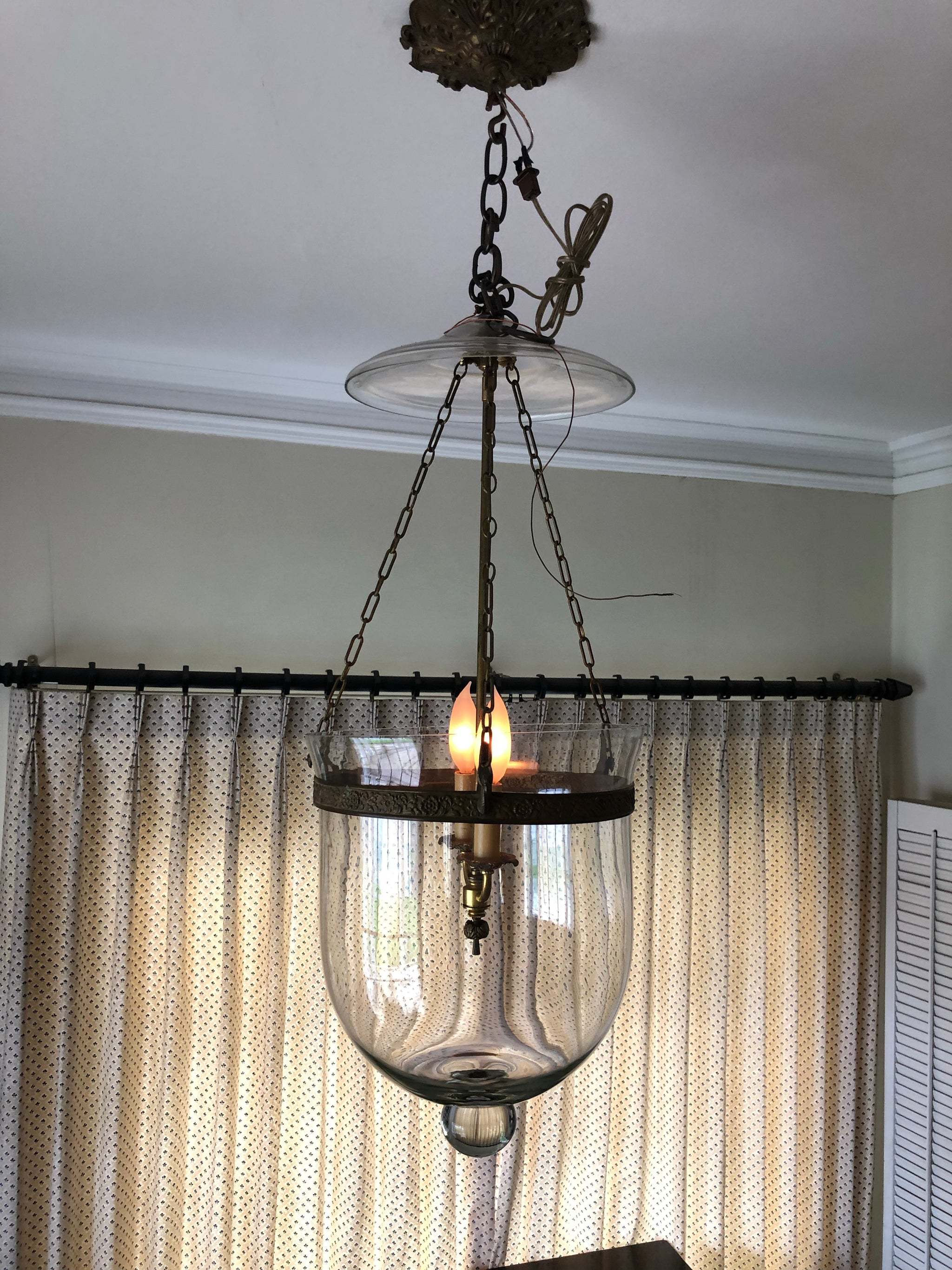 English Regency Style Glass 3-Light Hall Lantern