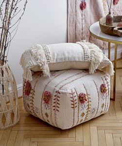Embroidered Bohemian Pouf