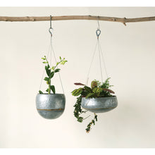 Load image into Gallery viewer, Galvanizing Hanging Planter with Gold Details - Free Shipping!