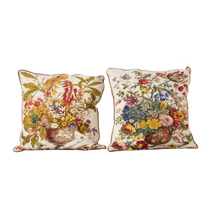 Pair of Embroidered Boho Pillows