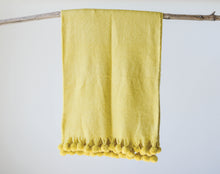 Load image into Gallery viewer, Chartreuse Throw with PomPoms