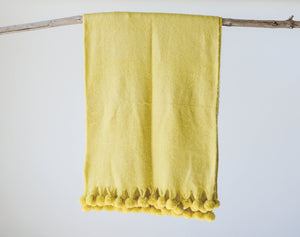 Chartreuse Throw with PomPoms