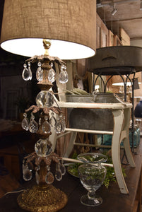 Pair of Stunning Vintage Tall Three Tier Crystal and Heavy Brass Lamps