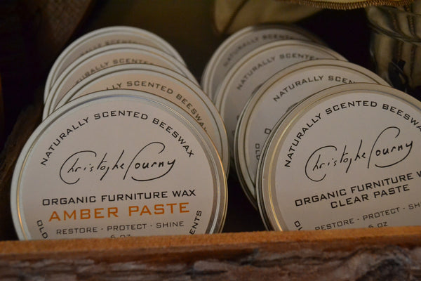 Christophe Pourny Organic Furniture Wax Pastes, in clear or amber