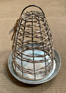 Willow Cloche with Metal Tray