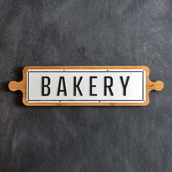 Metal Bakery Sign on Wood Base