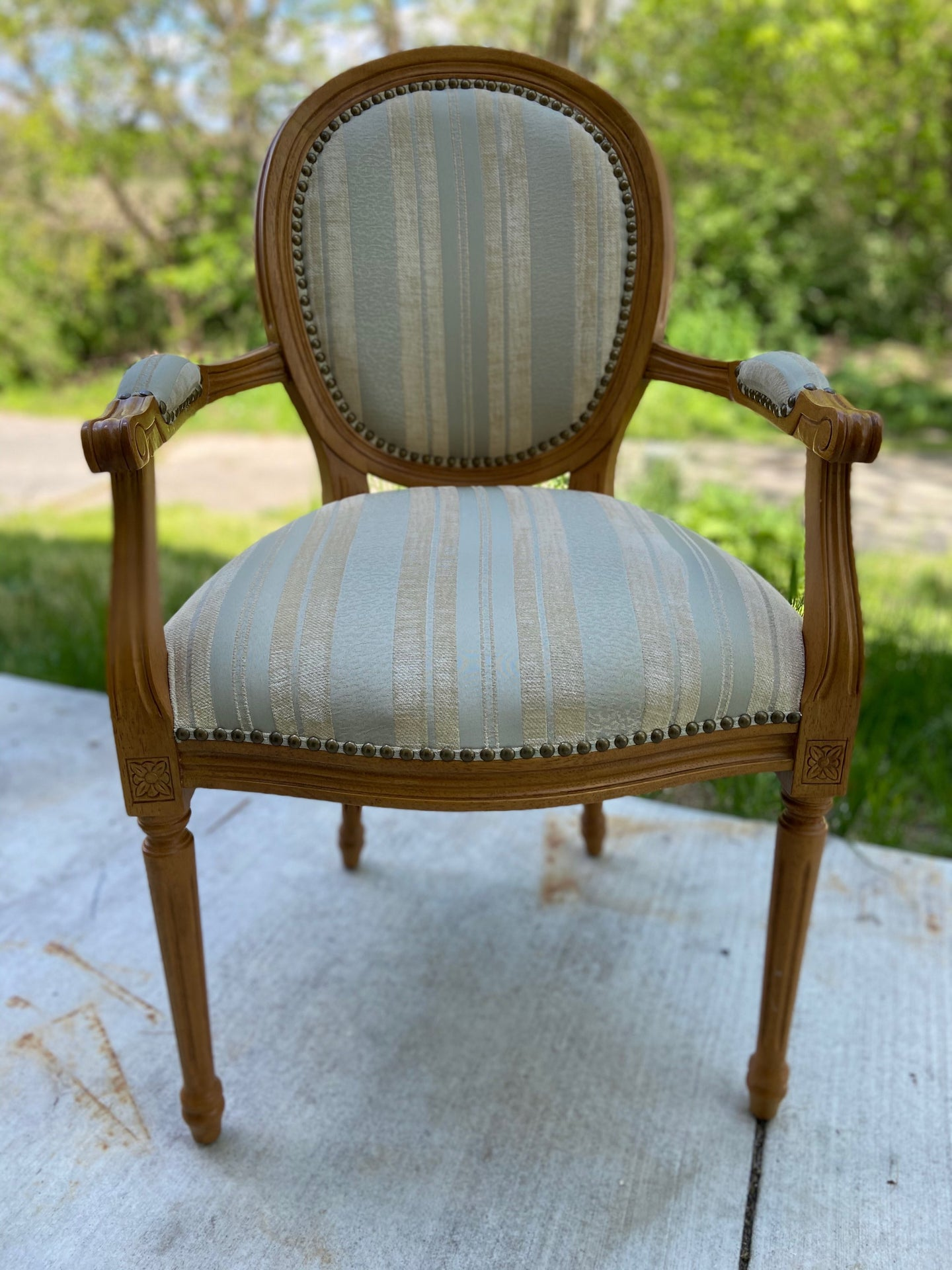 Striped French-style Armchair