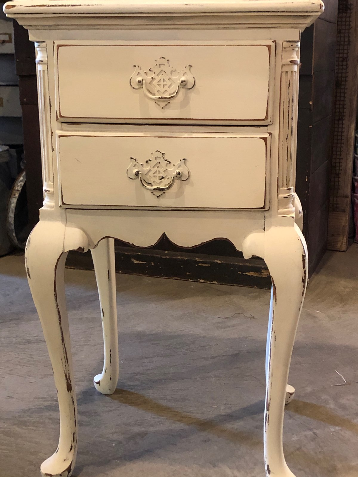 Vintage White-Painted Mahogany Nightstand/End Table