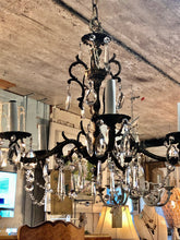 Load image into Gallery viewer, Vintage Brass & Crystal Chandelier