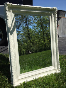 Large White Vintage Mirror