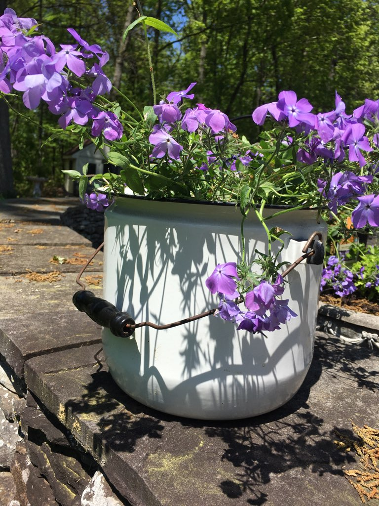 Vintage Enamel Bucket with Lid