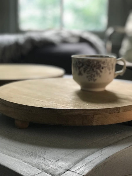 Footed Wooden Tray