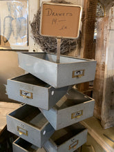 Load image into Gallery viewer, Wow Markdown Chic Farmhouse style Blue Metal Drawers