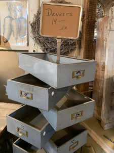 Wow Markdown Chic Farmhouse style Blue Metal Drawers