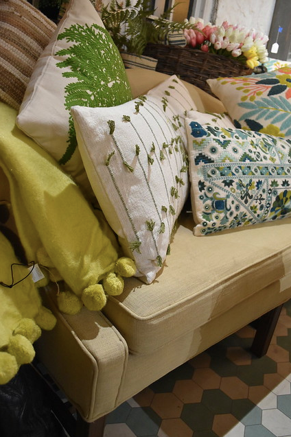 Chartreuse Throw with PomPoms - FREE SHIPPING!