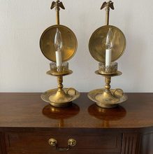Load image into Gallery viewer, Vintage Brass Federal Style Candlestick Lamps