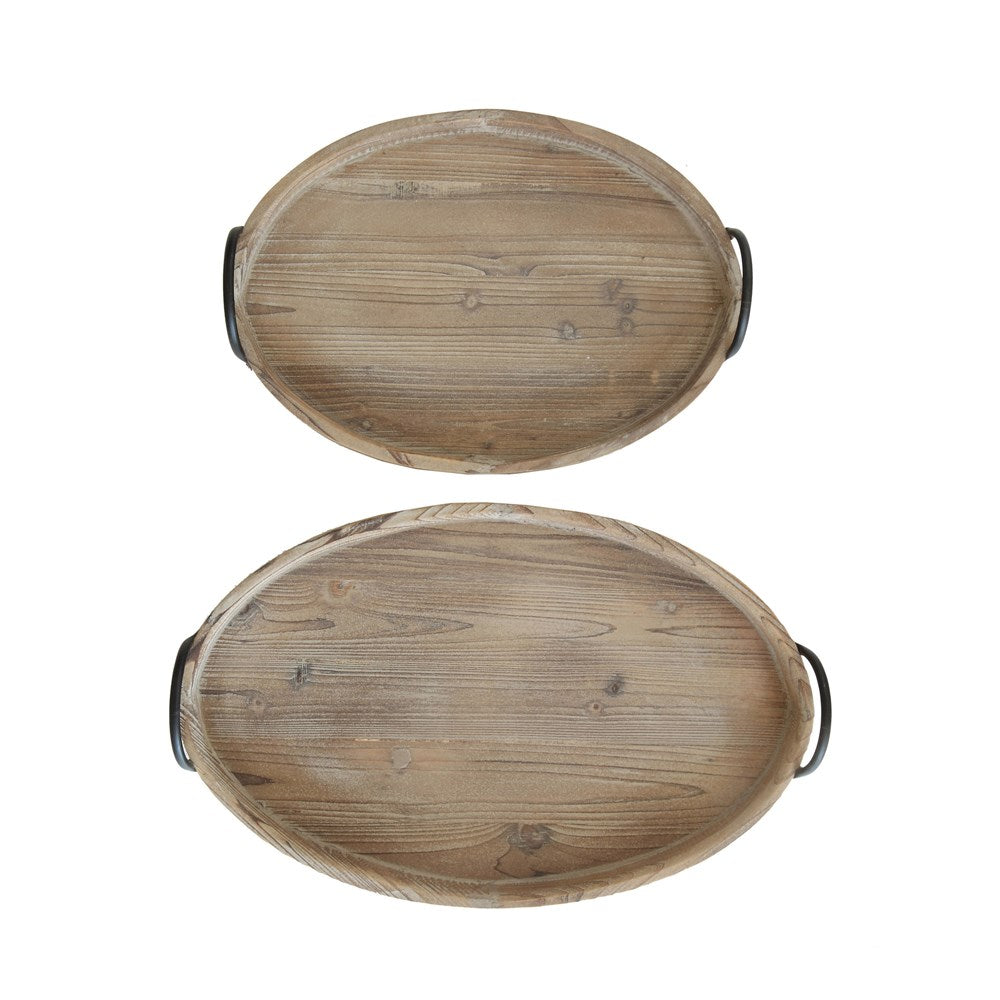 S/2 Decorative Wood Trays with Metal Handles - FREE SHIPPING
