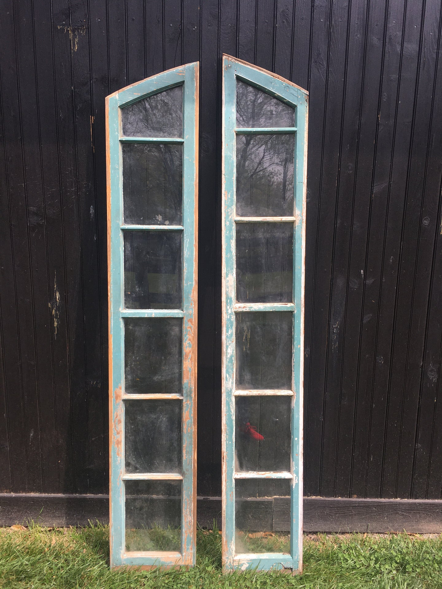 Pair of Vintage Blue/Green Arched Windows