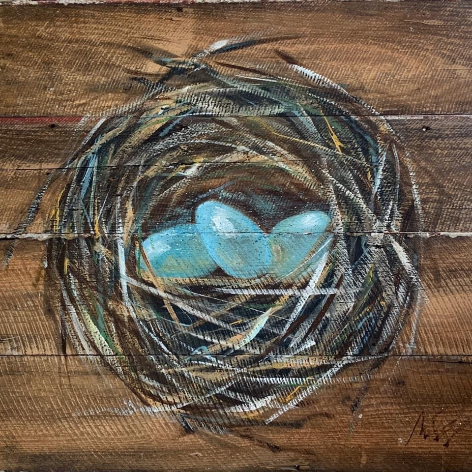 Original Hand Painted Nest on Salvage Wood