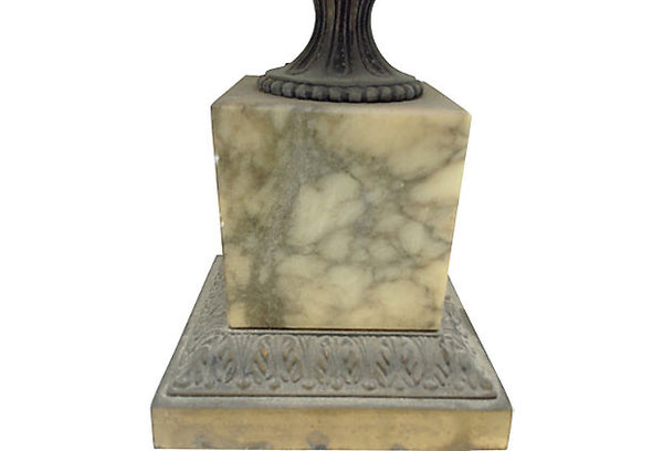 Beautiful Pair of Grey and a White Marble Lamps