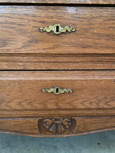 Vintage French Belgium Oak Chest with Marble Top