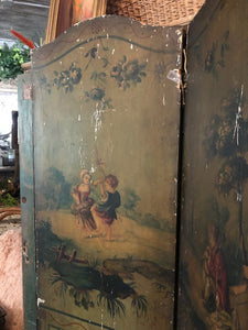 19th Century Hand Painted Two Sided French Panels